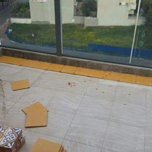 הדבקה של ריצוף במרפסת שמש